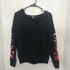 American Eagle Black Flower Embroidered Hoodie